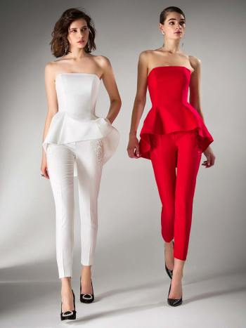 Strapless peplum blouse and skinny trousers