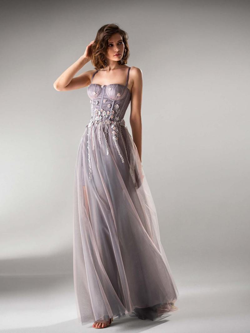 A-line evening gown with bustier bodice