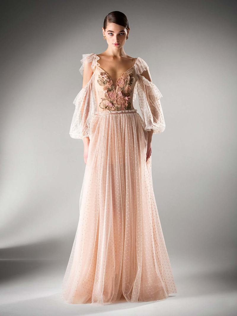 A-line evening dress with cold shoulder sleeves