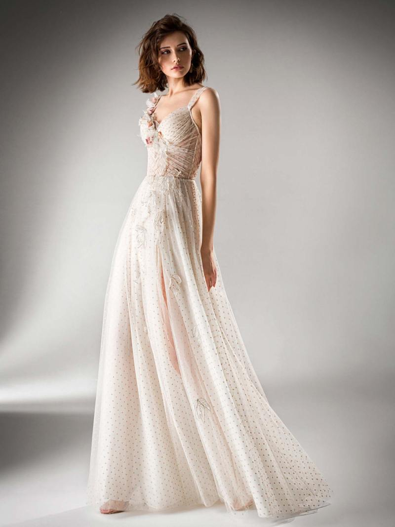 A-line evening gown with a high slit and floral applique