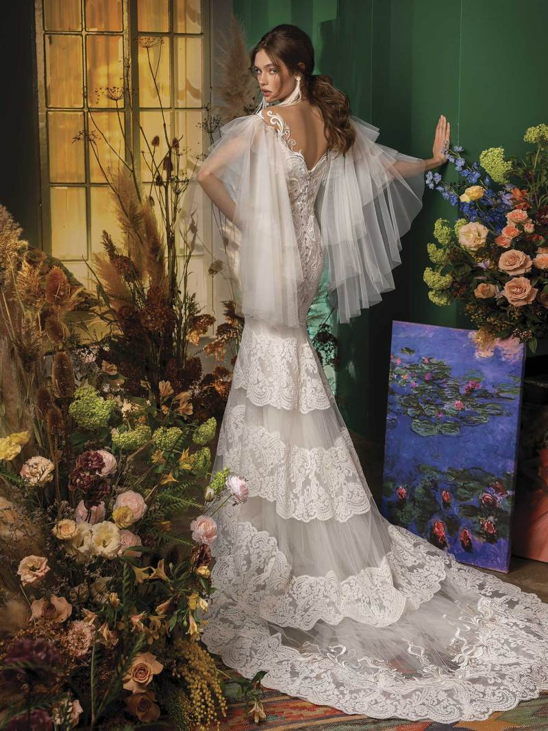 Mermaid wedding dress with bell sleeves