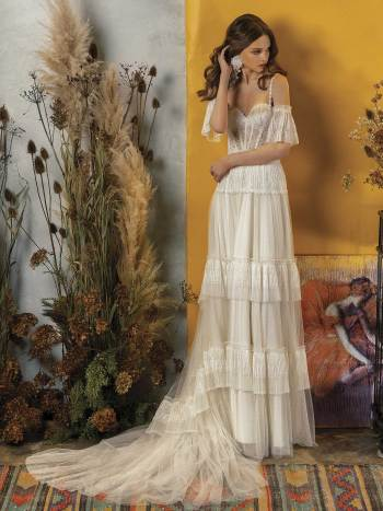wedding dress with ruffled skirt