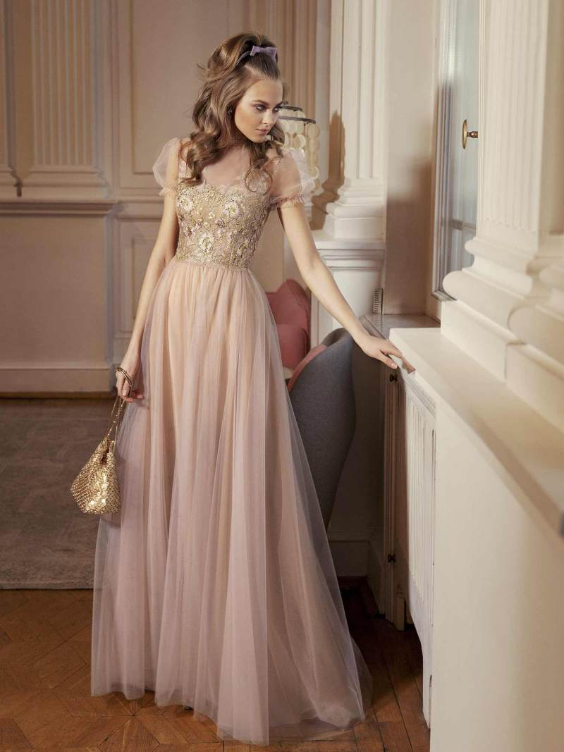 A-line evening gown with cap sleeves and embellished bodice