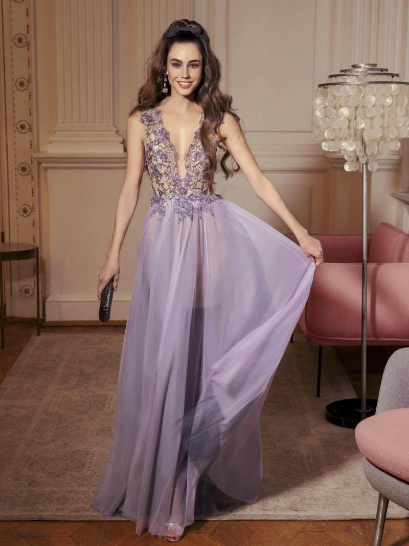 A-line maxi dress with plunging illusion neckline and embellished bodice