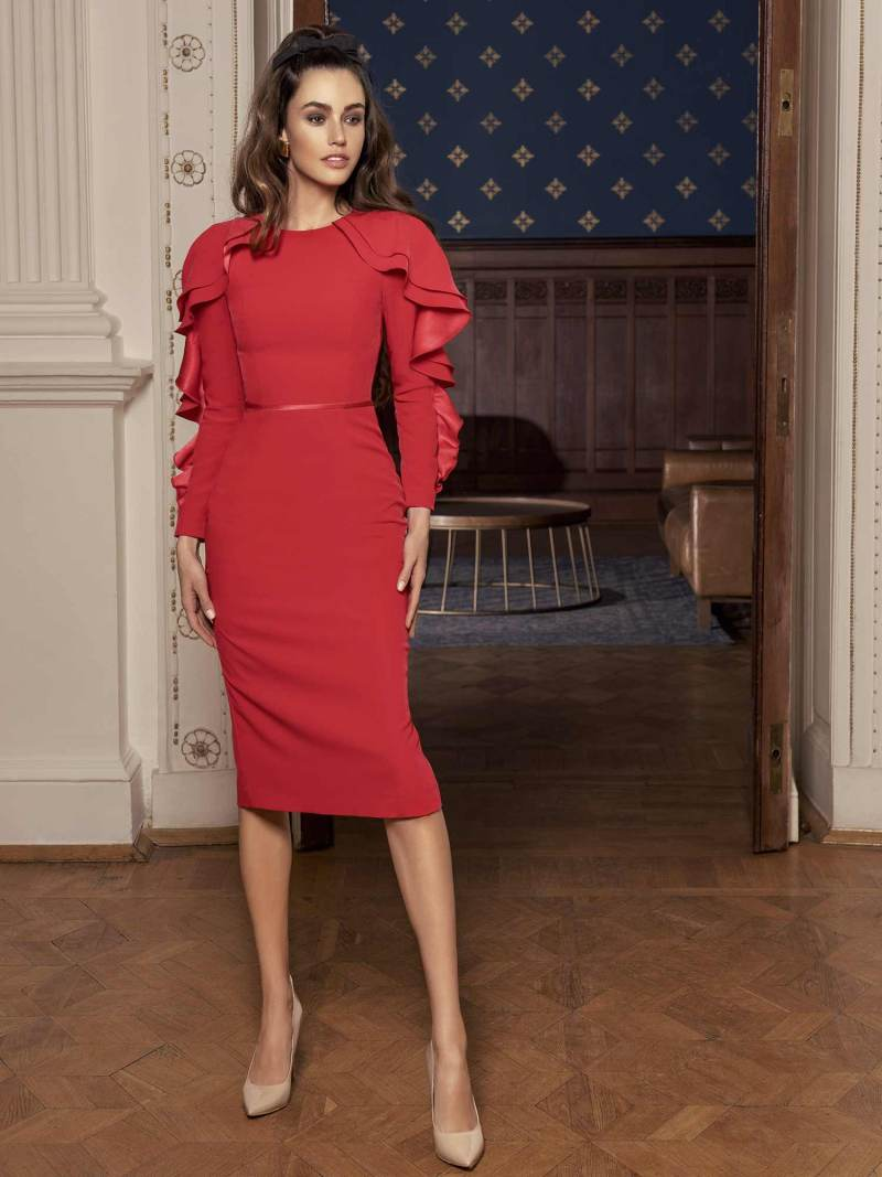 Sheath cocktail dress with long sleeves that feature ruffles