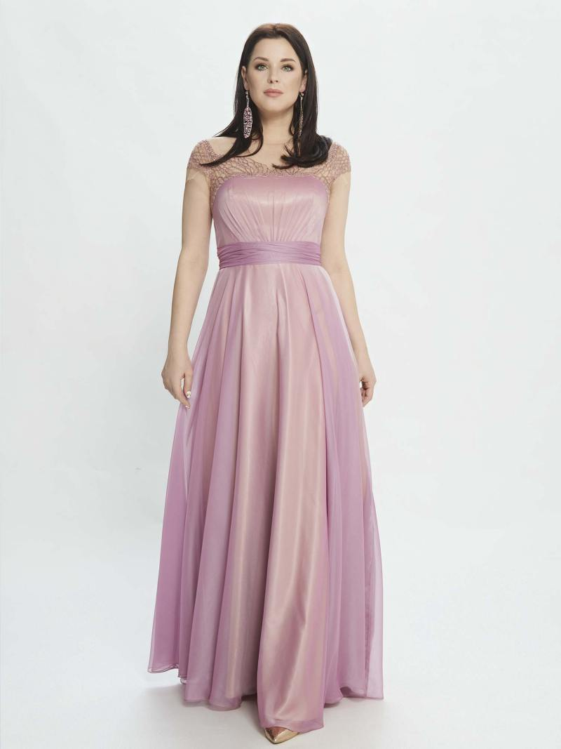 A-line evening dress with embroidery and cap sleeves