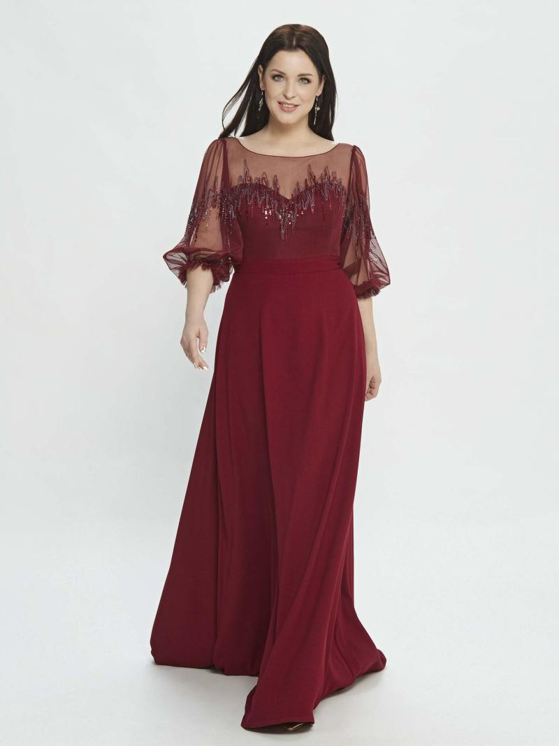 A-line evening dress with bishop sleeves and embroidery