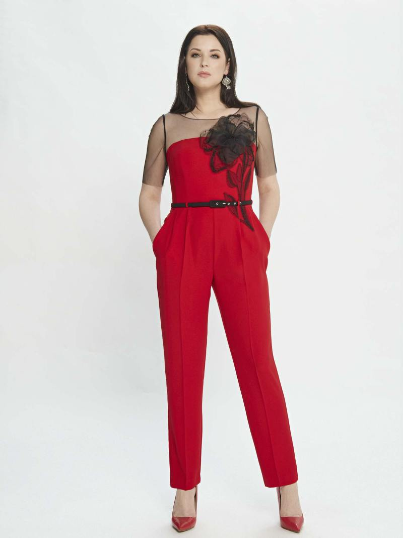 Jumpsuit with illusion sleeves and floral applique