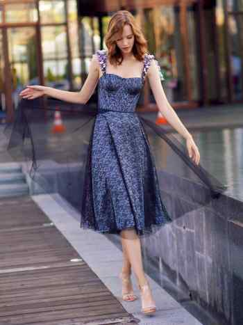 Special occasion A-line evening dress with floral applique