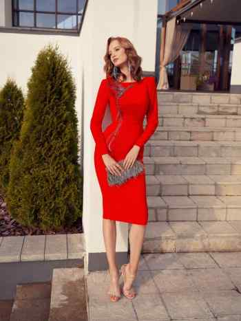 Red special occasion dress with long sleeves