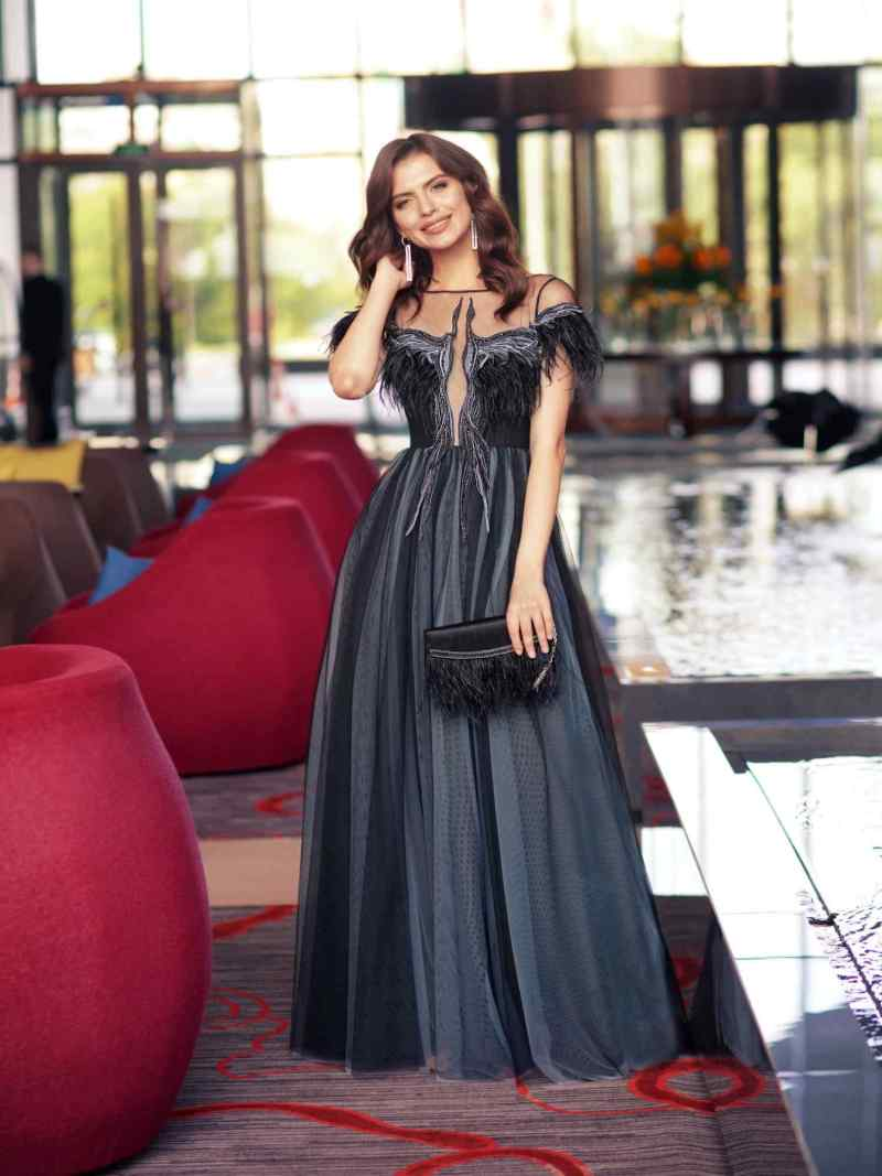 Long special occasion dress with unique embroidery