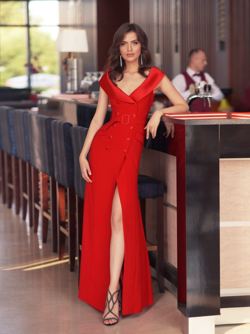 Formal dress with plunging V neckline and buttons on the front