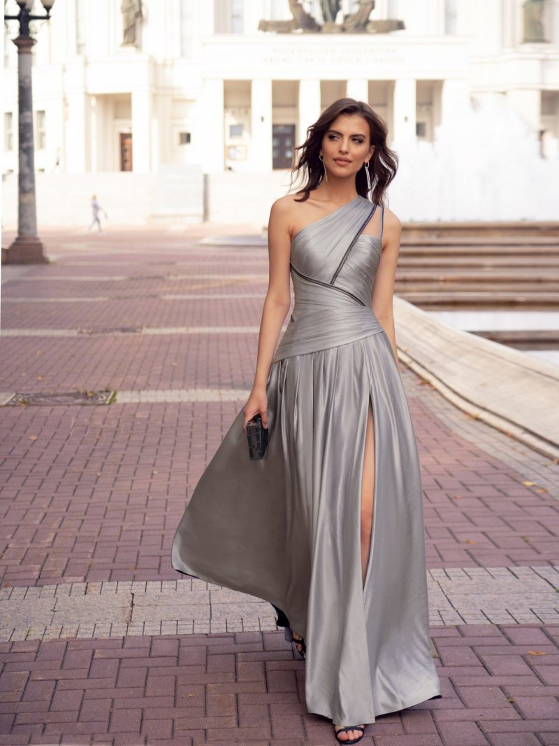 Luxury formal dress with asymmetrical designs and slit on the leg