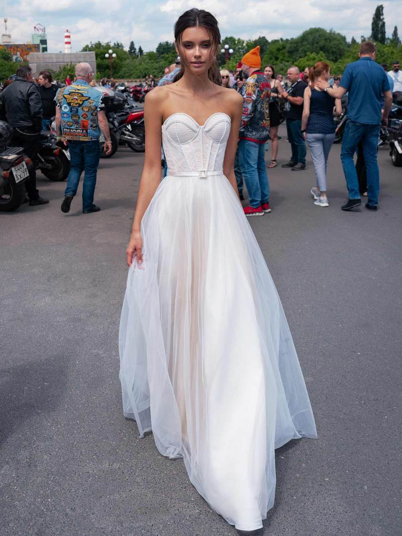Strapless modern wedding dress with pearl beading
