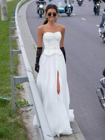 Simple wedding dress with dropped waist and pearl details