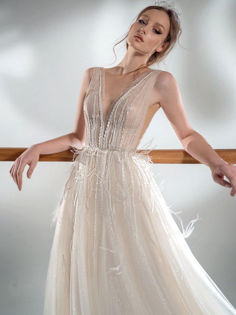 Sparkling A-line wedding dress with V-neckline