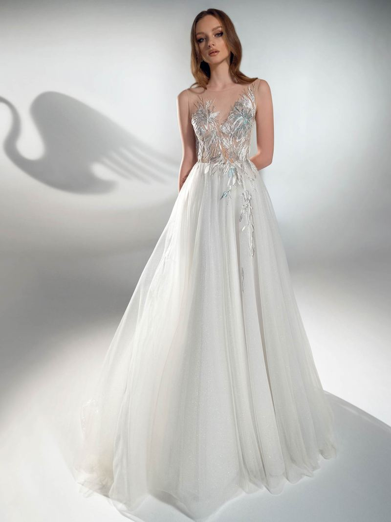 Sparkling A-line wedding dress with floral top