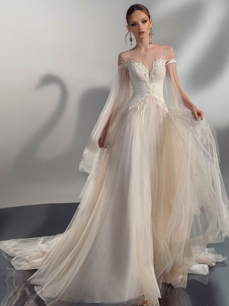 A-line wedding dress with cape sleeves