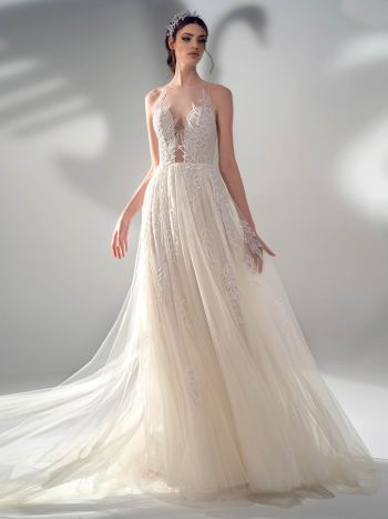 A-line wedding dress with illusion halter neckline and leaf embroidery