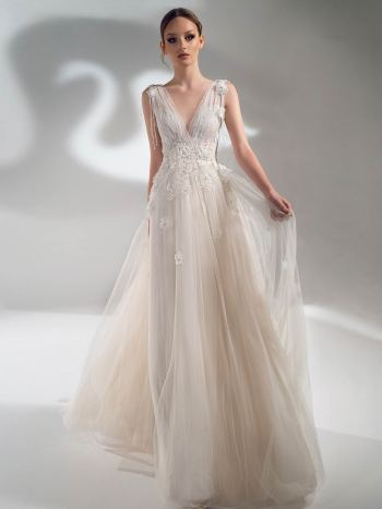 V-neck A-line wedding dress with 3D flowers