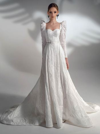 Jacquard A-line wedding dress with long sleeves