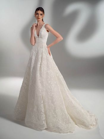Sparkling lace ball gown wedding dress with V-neck