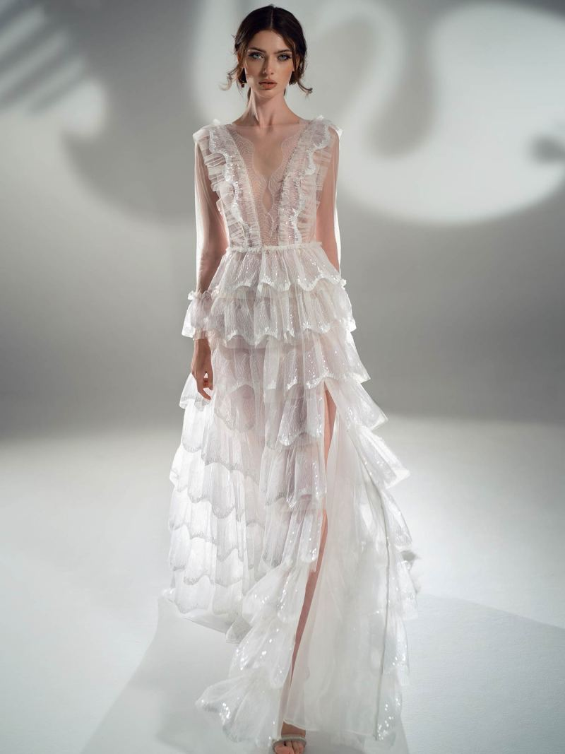 Sparkling A-line wedding dress with tiered skirt