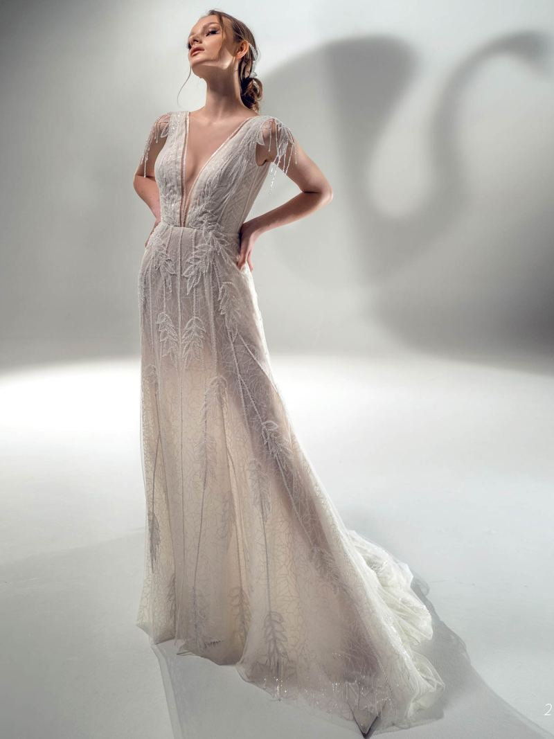 Sparkling sheath wedding dress with V-neck