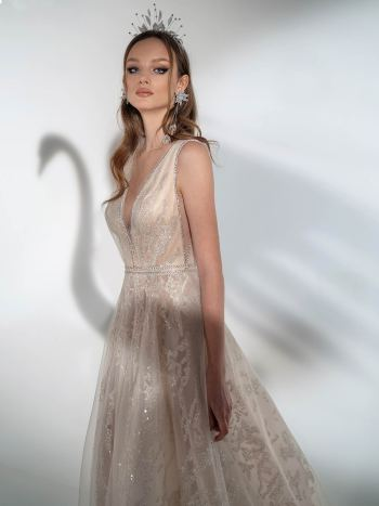 Sparkling A-line wedding dress with V-neckline