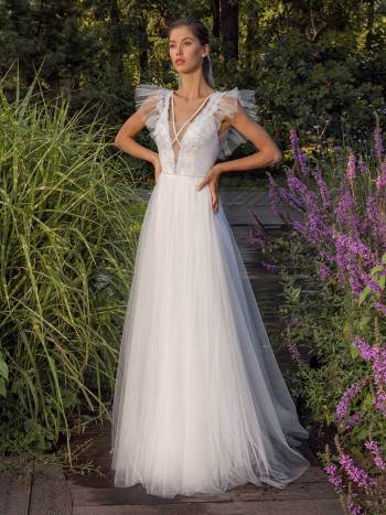 Glitter tulle A-line wedding dress with ruffled cap sleeves and open back