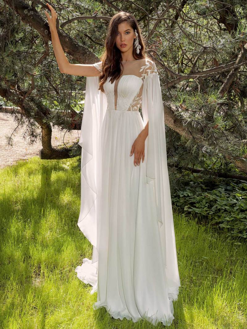 Chiffon sheath wedding dress with cape sleeves