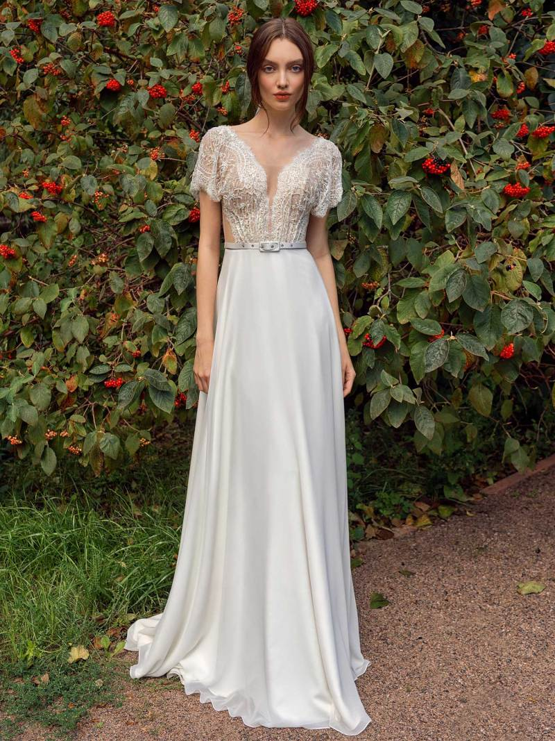 Cap sleeve sheath wedding dress with lace top and chiffon skirt