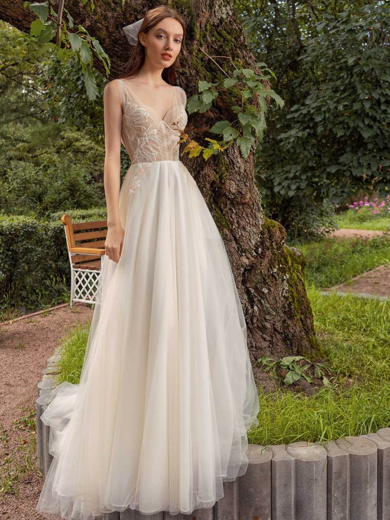 A-line wedding dress with bustier style corset
