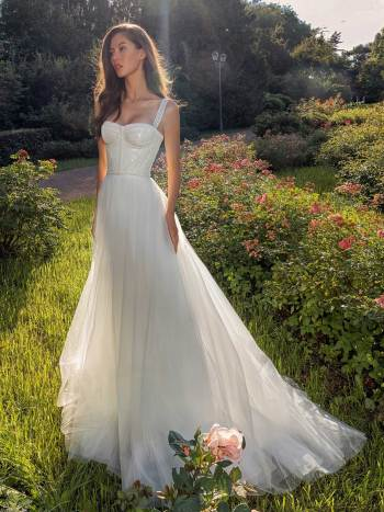 Bustier style A-line wedding dress with pearl waistline