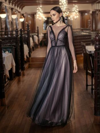 A-line evening dress with sheer long sleeves and keyhole back