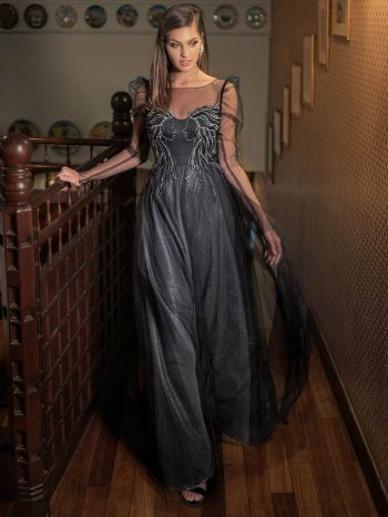 A-line evening dress with puff shoulders and long sleeves