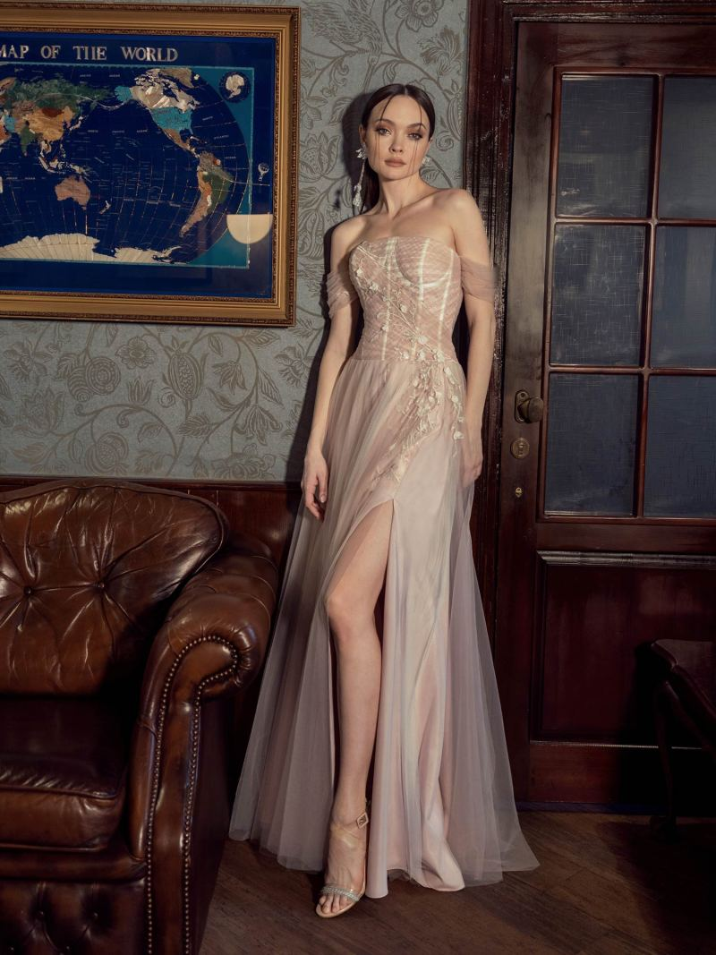 A-line evening gown with bow straps