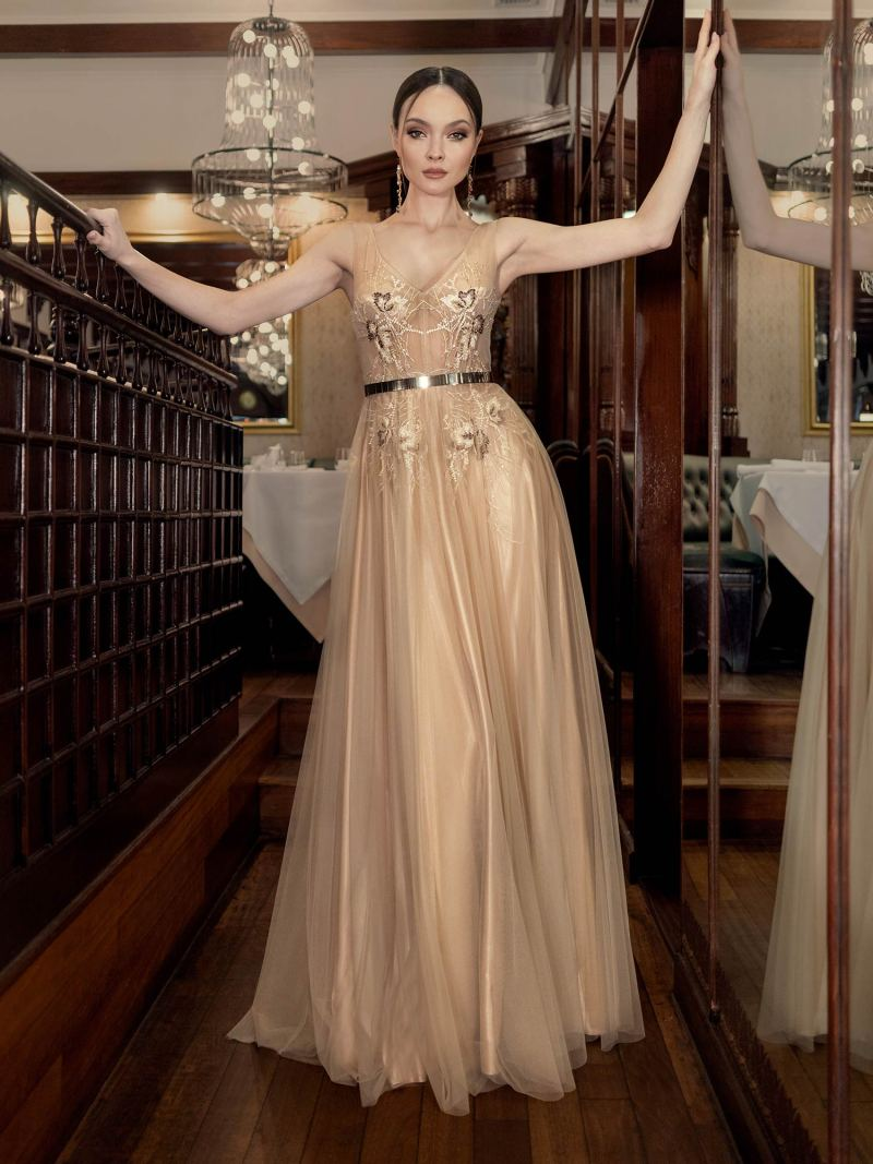 V-neck A-line evening dress with a metallic belt