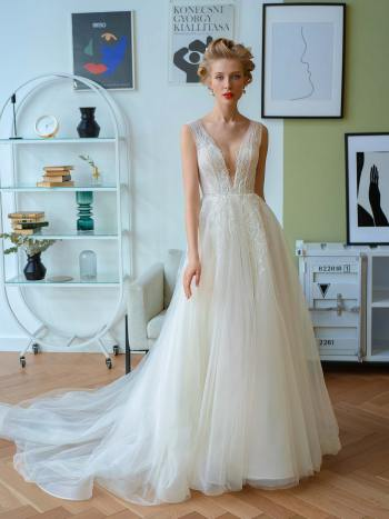 A-line wedding dress with V neckline and flower embroidery
