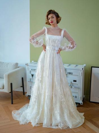 Floral lace ball gown with high neck and long sleeves