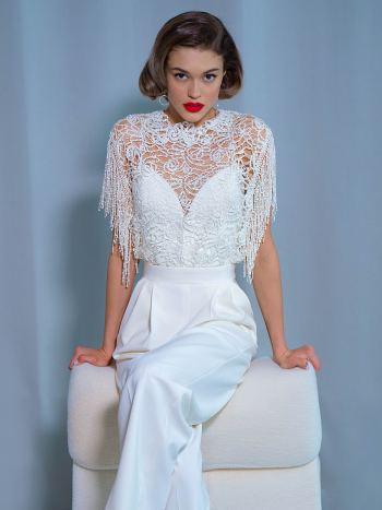 Bridal jumpsuit with lace top