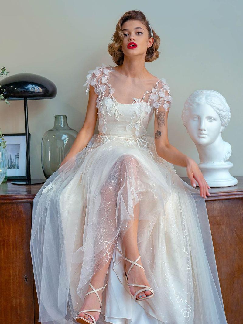 A-line wedding dress with 3D floral décor