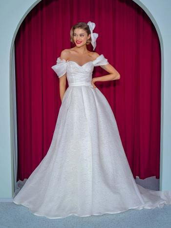 Organza ball gown with off the shoulder straps