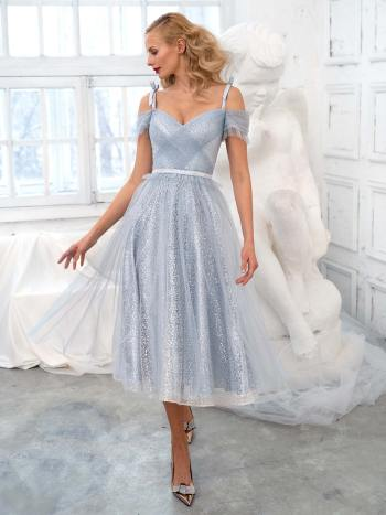 Off the shoulder A-line dress with a sequinned lace layer