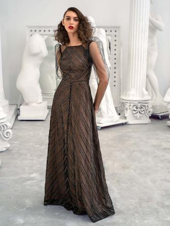 A-line gown with the embellished geometric pattern