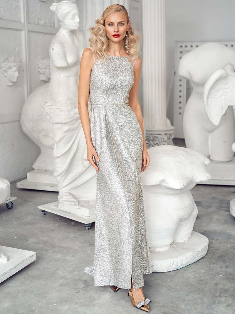 Sequin sheath gown with a high slit