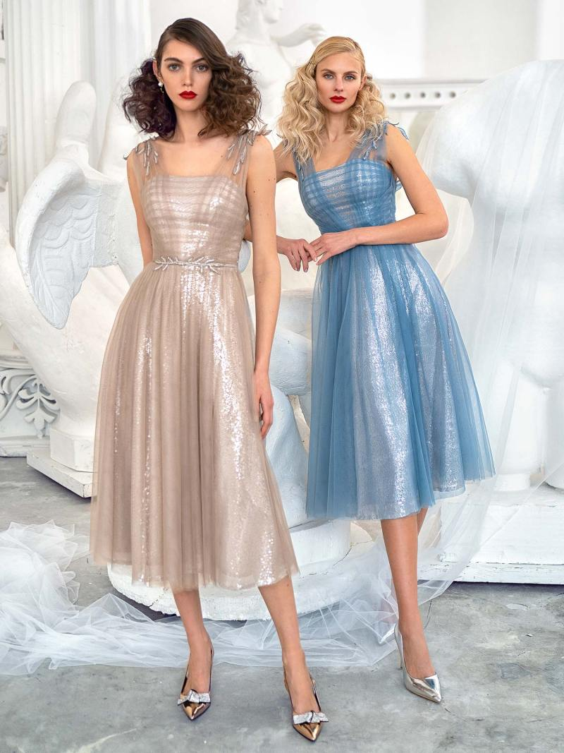 A-line evening dress with floral applique and sequin underlayer