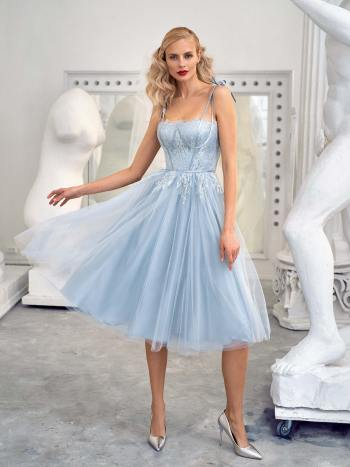 Bustier style gown with tulle skirt and spaghetti straps
