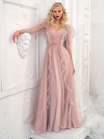 Long-sleeve A-line evening dress with ruffles