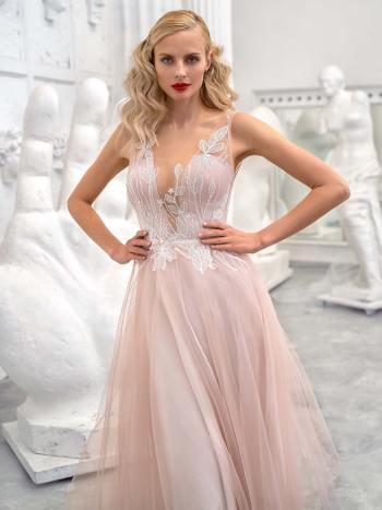 A-line formal dress with floral lace top and tulle skirt